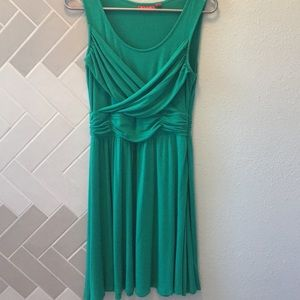 Teal dress, fun for the office or out and about.